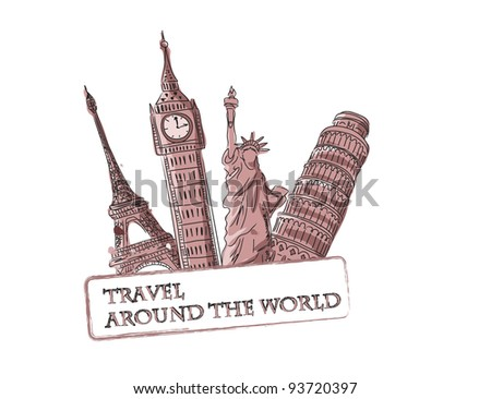 Travel vector background - stock vector