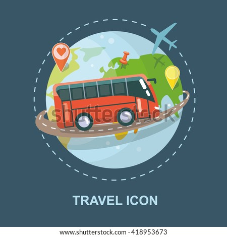 Travel Vector icon isolated. Trip around the world. Logo for travel agency - stock vector