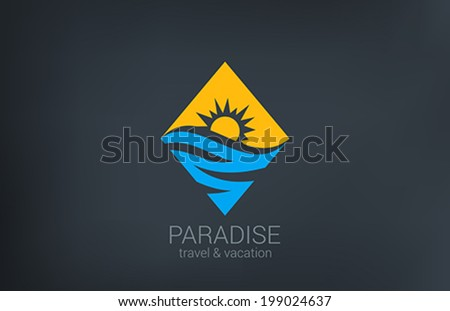 Travel vector logo design template. Rhombus shape creative concept.  Ocean Sea Waves, Sun shine Tourism icon. - stock vector