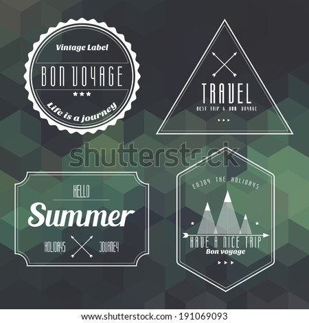 travel vintage label on geometry background vector - stock vector