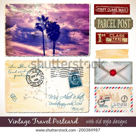 Travel Vintage Postcard Design with antique look and distressed style. Includes a lot of paper elements and postage stamps. - stock vector