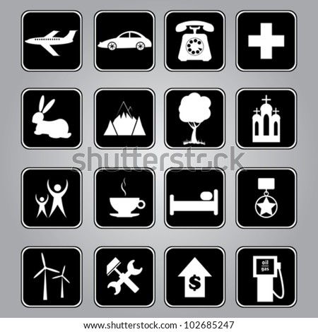 Travel, vocation and tourism vector icons - stock vector