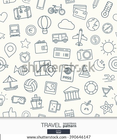 Travel wallpaper. Black and white trip seamless pattern. Tiling textures with thin line web icons set. Vector illustration. Abstract background for mobile app, website, presentation. - stock vector
