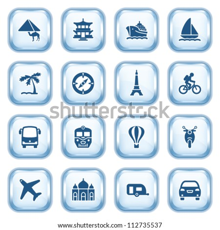 Travel web icons on glossy buttons. - stock vector