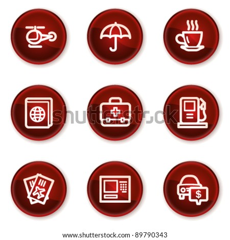 Travel web icons set 4, dark red circle buttons - stock vector