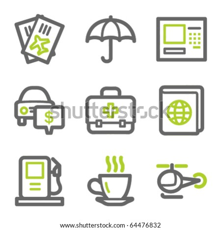 Travel web icons set 4, green and gray contour series - stock vector