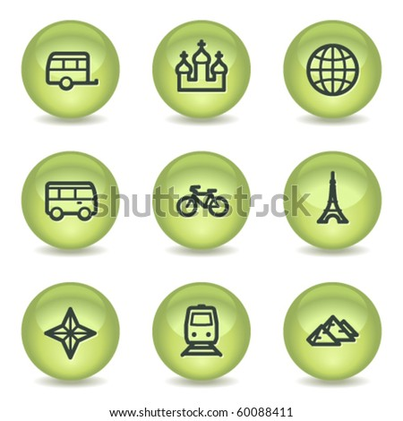 Travel web icons set 2, green glossy circle buttons - stock vector