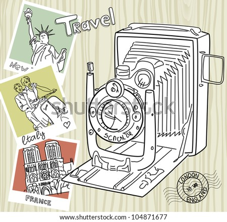 Travel with your vintage camera. Snapshots of different countries and old camera on a wooden background - stock vector