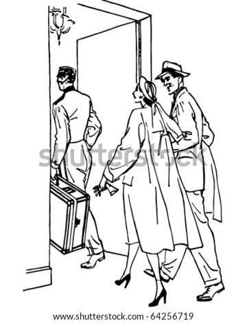 Travelers Entering Hotel - Retro Clipart Illustration - stock vector