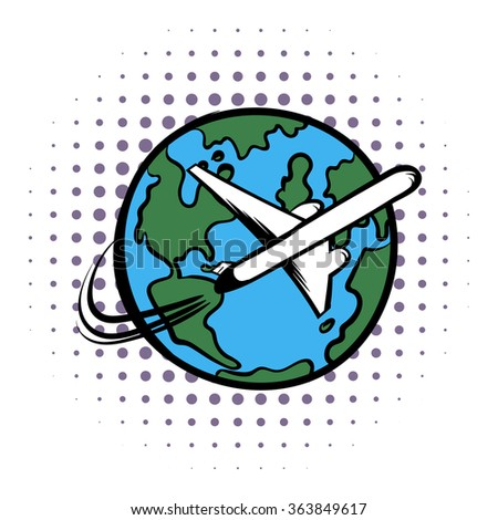 Traveling by a plane comics icon on a white background - stock vector
