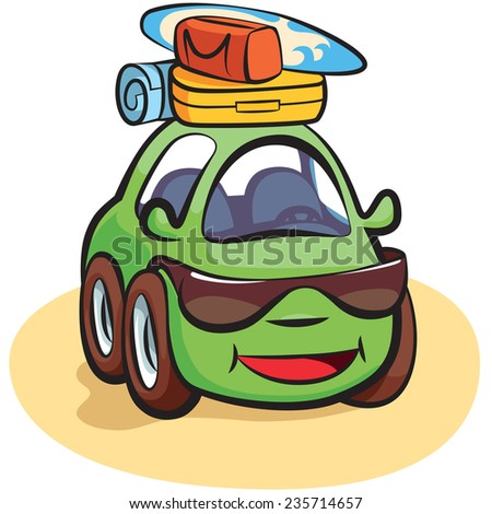 Traveling Car Tourist Cartoon Vector Illustration - stock vector