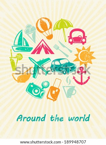 Traveling card. Retro travel icons. Grunge paper background. Vector illustration. - stock vector