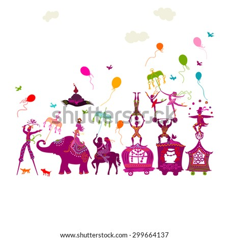 traveling colorful circus caravan with magician, elephant, dancer, acrobat and various fun characters in one row on white background - stock vector