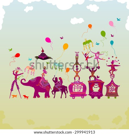 traveling colorful circus caravan with magician, elephant, dancer, acrobat and various fun characters in one row during daylight - stock vector