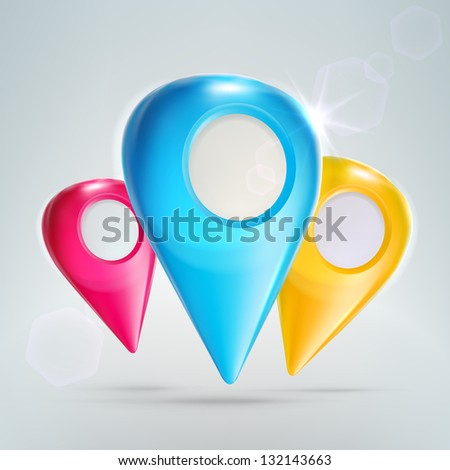 Traveling geo tag glossy icon emblem composition, set of three cmyk colored tags, eps10 vector composition - stock vector