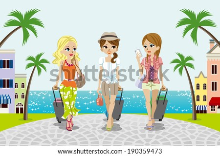 Traveling girls in Seaside town -EPS10 - stock vector
