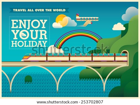 Traveling illustration in color. Vector illustration. - stock vector