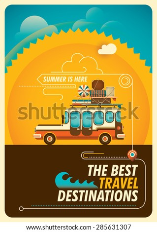 Traveling illustration with wagon car. Vector illustration. - stock vector