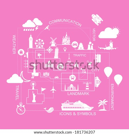 Traveling in the world,icons vector - stock vector