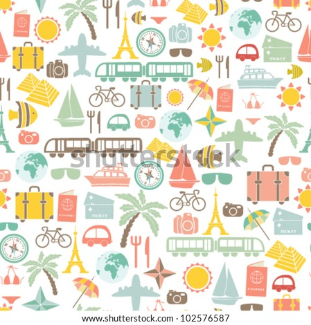 traveling pattern. colorful seamless background. - stock vector