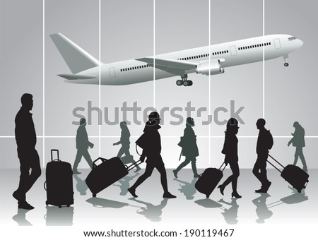Traveling people walking at airport. Vector illustration - stock vector