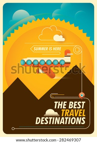 Traveling poster with airplane. Vector illustration. - stock vector