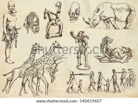 Traveling series: Central AFRICA - collection of an hand drawn illustrations. Description: each drawing comprise an average of three layer of outlines, colored background is isolated. - stock vector