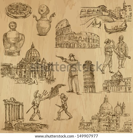 Traveling series: ITALY - Collection of an hand drawn, original illustrations (no tracing !!). Description: Each drawing comprise of two layers of outlines, colored background is isolated. - stock vector