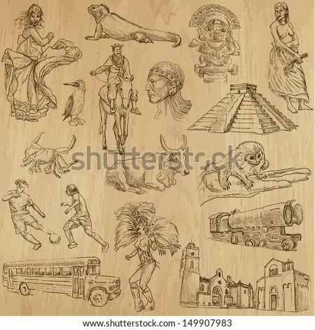 Traveling series: SOUTH AMERICA 2 - Collection of an hand drawn, original illustrations (no tracing !!!). Description: Each drawing comprise of two layers of outlines, colored background is isolated. - stock vector