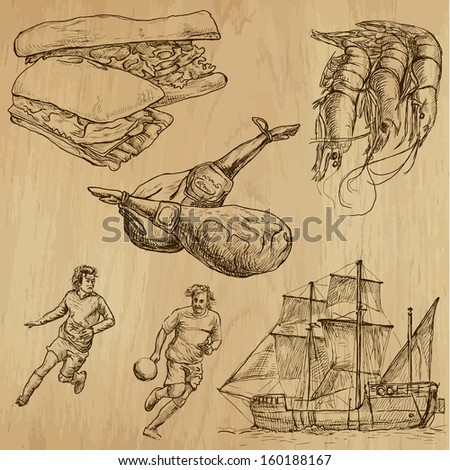 Traveling series: SPAIN (set no.2) - Collection of hand drawn illustrations (originals, no tracing). Description: Each drawing comprises two layers of outlines, the colored background is isolated. - stock vector