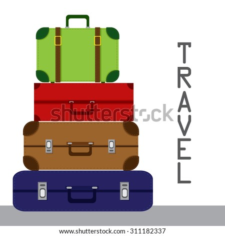 Traveling suitcases - stock vector