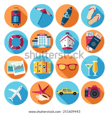 Traveling, tourism, vacation icons set. Flat style design. Vector illustration. - stock vector
