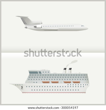 Traveling transport illustration with a large passenger cruise ship and a flying plane.  - stock vector