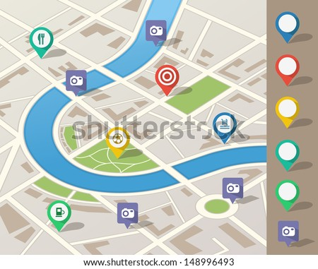Traveling using application with location pins where points of interest are located.Route planning using GPS on smart phone or desktop application. City map with interesting tourist  places to visit.  - stock vector