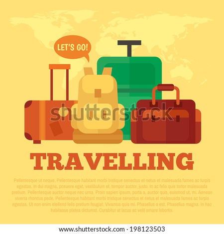 Travelling poster with flat luggage - stock vector