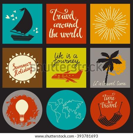 Travels card design set isolated, sailboat, aircraft, hot air balloon, palm tree, sun rays, world map, hammock calligraphic text, handwriting - stock vector