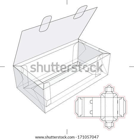 Tray Box with Flop Lid and Blueprint Layout - stock vector