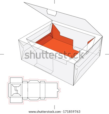 Tray Box with Rim Lid and Blueprint Layout - stock vector