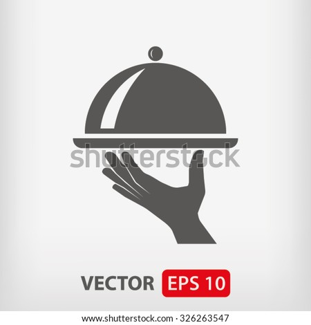 tray in hand  icon. One of set web icons - stock vector