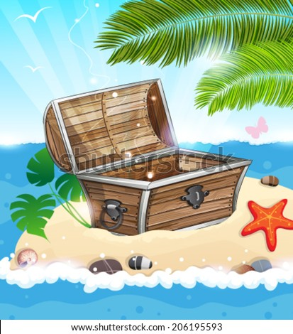 Treasure Chest on sandy island with palm tree in the middle of the ocean - stock vector