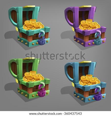 Treasure chest.  Vector illustration. - stock vector