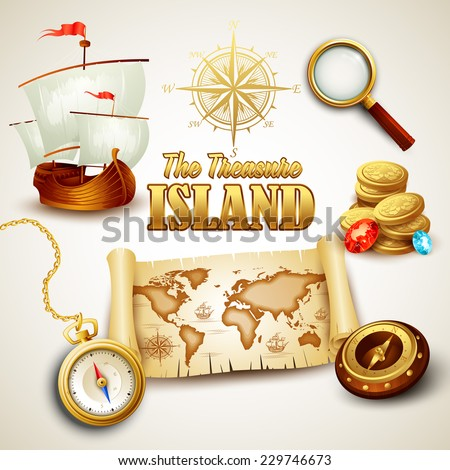 Treasure Island. Vector icons set - stock vector