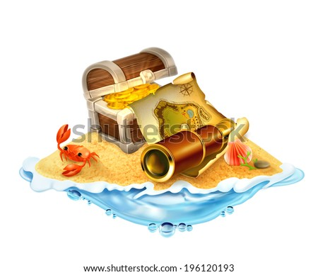 Treasure island, vector illustration isolated on white background - stock vector