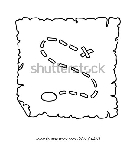 treasure map outline - stock vector