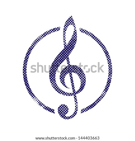 Treble clef icon with halftone dots print texture. Macro newspaper style vector symbol. - stock vector