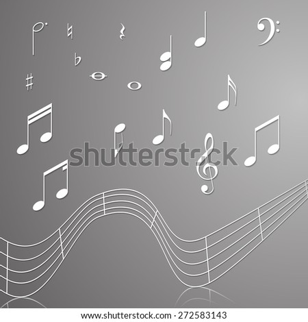 treble clef musical signs of paper with reflection on a gray background - stock vector