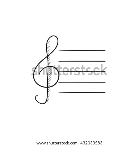 Treble clef vector sketch icon isolated on background. Hand drawn Treble clef icon. Treble clef sketch icon for infographic, website or app. - stock vector