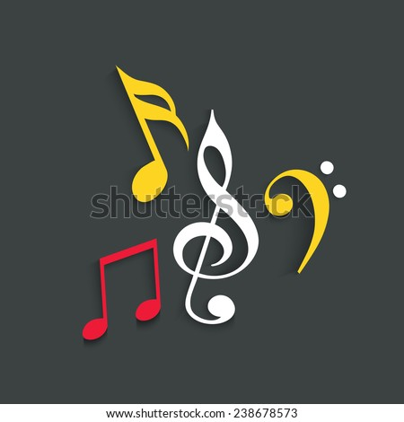 Treble clef with musical notes on dark grey background. - stock vector