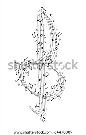 Treble Cleff and music notes - stock vector