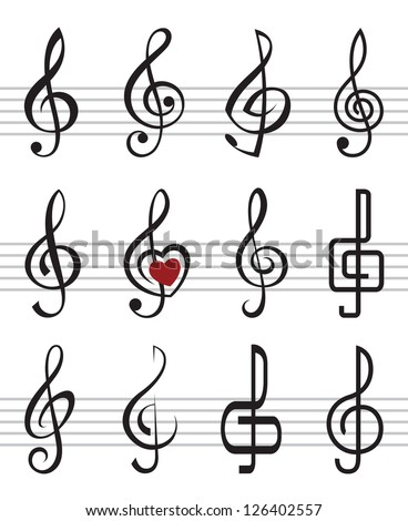 treble clefs - stock vector